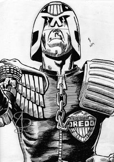 Freehand sketch of Judge Dredd using black gel pen for Referenced from the work of the late great Ron Smith Comic Book Heroes, Comic Books, Judge Dredd, Gel Pens, Inktober, Joker, Sketches, Comics, Fictional Characters