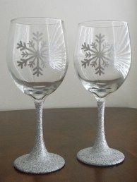 Glitter Stem Vinyl Snowflake Wine Glasses Wine Glasses Seashell And Sand Wine Glasses