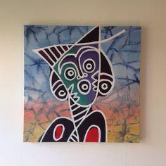 Batik woman ll Acryl op doek. Indonesian painting style.