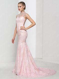 Lace Beading High Neck Sleeveless Zipper-up Sheath Sweep Train Floor Length Evening Dress 11800964 - Evening Dresses 2016 - Dresswe.Com