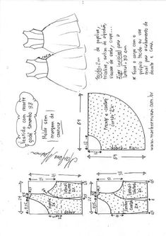 Vestido com recorte princesa godê - - Esther Vitalia Alvarez Montalvo - Kids Dress Patterns, Dress Making Patterns, Doll Patterns, Clothing Patterns, Pattern Drafting Tutorials, Sewing Patterns Free, Sewing Tutorials, Sewing Projects, Sewing Clothes