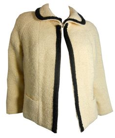 Black and Ivory Cropped Swing Jacket circa 1950s Lilli Ann - Dorothea's Closet Vintage