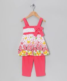 Take a look at this Coral Printed Tunic & Capri Leggings - Infant, Toddler & Girl by G Relations on #zulily today!