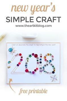 Simple New Year's Craft for Kids {Free Printable} - The Art Kit Kids Crafts, New Year's Eve Crafts, Toddler Crafts, Holiday Crafts, Easy Crafts, Kids Diy, New Year's Eve Activities, Holiday Activities, New Year Art