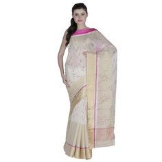 Off White Zari Work Silk Saree #bandbaajaa.com #bandbaajaa #weddingsarees #weddingsaris #bridalsarees #bridalsaris #designersarees #designersaris #sarees #saris #weddingwear #weddingshopping