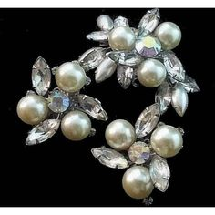 Pearl Brooch Earring Set Signed Judy Lee AB Rhinestones Silver Metal... ($35) ❤ liked on Polyvore featuring jewelry and earrings