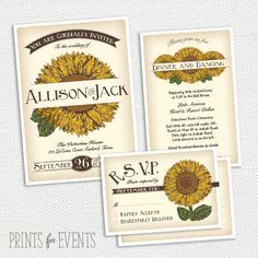 Vintage Sunflower Wedding Invitation Suite - Seed Packet - Printable - Post Card RSVP - Yellow