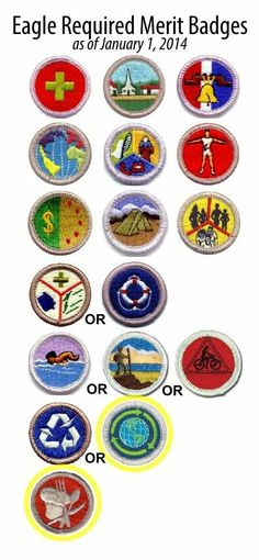 The list of Eagle required merit badges changes next year; cooking will be required and sustainability will be an alternative to environmental science. Scout Mom, Girl Scouts, Boy Scouts Merit Badges, Les Scouts, Eagle Scout Ceremony, Boy Scout Camping, Eagle Project, Wood Badge, Scout Activities