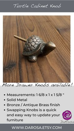 Changing Drawer Knobs is an quick and easy way to spruce up your furniture. These Turtle Drawer Knobs are cute for a kids room or use them at the beach house. They are made of metal with a bronze finish.
