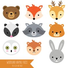 Woodland Animal Faces Clipart / Photo Booth Masks / Baby Shower
