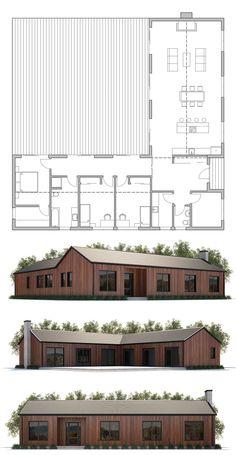Hausplan - Floor Plans - House Plan The cos. Sims House Plans, New House Plans, House Floor Plans, L Shaped House Plans, House Construction Plan, Modern Bungalow House, House Blueprints, Architecture Plan, House Layouts