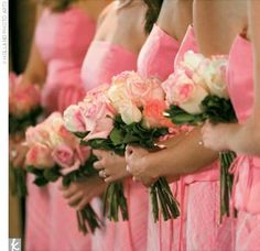 bridesmaids...pinks, peaches,maybe even a pink tipped yellow