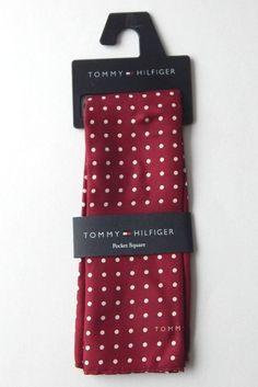 Tommy Hilfiger Colored Dot Burgundy Red Silk Pocket Square NEW #TommyHilfiger #Patterned