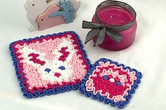 Ravelry: Wiggly Easter Hot Pad and Coaster pattern by Susan Lowman Crochet Books, Crochet Gifts, Crochet Blankets, Wiggly Crochet Patterns, Crochet Hot Pads, Easter Crochet, Crochet Kitchen, Easter Baskets, Holiday Crafts
