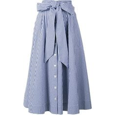 Lisa Marie Fernandez Gingham Check Full Skirt ($477) ❤ liked on Polyvore featuring skirts, blue, blue gingham skirt, blue skirt, gingham skirt, mid calf skirts and multicolor skirt