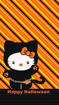 Hello Kitty Halloween, Halloween Cat, Halo Halloween, Halloween Wallpaper Iphone, Holiday Wallpaper, Hello Kitty Art, Sanrio Hello Kitty, Artistic Wallpaper, Thanksgiving Wallpaper