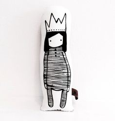 The Naked Lunge | Little Gatherer cute simple child illustration screen print princess in crown and sleepsuit plushie doll for helping your little diva cuddle up at night