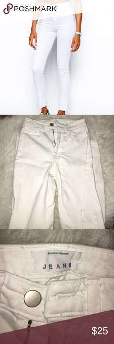 American Apparel White High Waisted Jean Very cute white skinny jeans with zippers down the outer ankle. Perfect for summer. High waisted. In great condition. Size 24 American Apparel Jeans Skinny