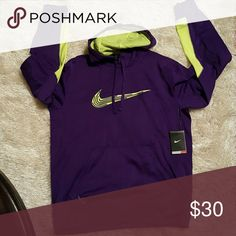 Nike Thermal-Fit Hoodie Purple and Neon Green Nike hoodie. Brand new condition with tags. Nike Shirts Sweatshirts & Hoodies