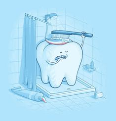 Imagen de tooth, funny, and shower