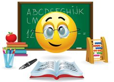 Illustration about Smiley ball with eyeglasses in front of green board in classroom. Illustration of face, illustration, character - 27326588 Smiley Emoticon, Emoticon Faces, Smiley Faces, Funny Emoticons, Funny Emoji, World Emoji, Emoji Images, Emoji Love, Emoji Symbols