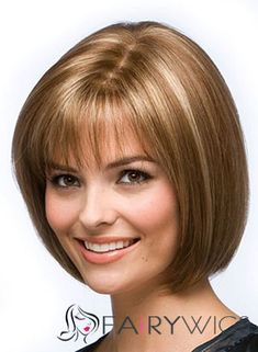 Short Bob Straight Human Hair Wigs With Bangs, Best Wigs Online Sale Real Hair Wigs, Human Hair Wigs, Medium Hair Styles, Short Hair Styles, Wigs For Cancer Patients, Blonde Bob Haircut, Bob Bangs, Wavy Bob Hairstyles, Bob Haircuts