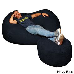 Large Memory Foam Micro Suede Beanbag Couch Black Size Jumbo Leather Bean Baggiant