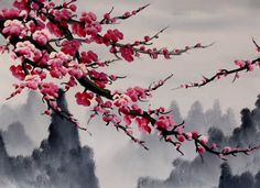 AL - Chinese Feng Shui Painting, Chinese Cherry Blossom Painting Japanese Artwork, Japanese Painting, Sakura Painting, Chinese Painting Flowers, Chinese Cherry Blossom, Cherry Tree, Japanese Cherry Blossoms, Japanese Blossom, Feng Shui Paintings
