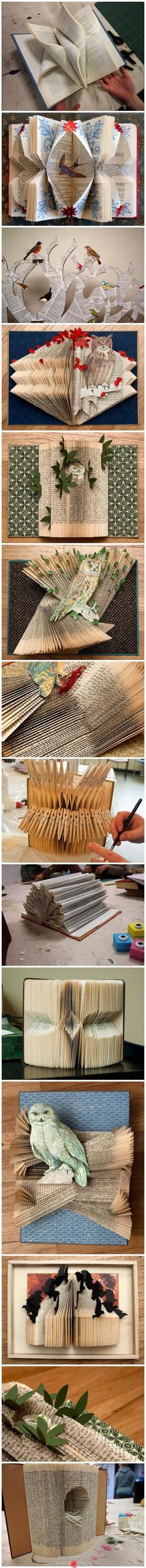The art of paper folding - From the Chinese site, pengfu.com - can't find a creator to give credit to, but I love the work.