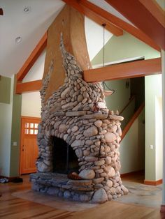 sunny-day-stone-fireplace-design - Home Decorating Trends - Homedit River Rock Fireplaces, Stone Fireplaces, Modern Fireplaces, Natural Building, Green Building, Earthship, Fireplace Design, Fireplace Hearth, Fireplace Ideas