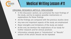 "In the ""Discussion"" section of an original research article, we summarize the main findings of the study and compare them with the observations made in the past. We try to explore the mechanisms or explanations for the new findings. #TuracozSkillDevelopmentProgram provides #PublicationsMedicalWritingTraining to help you write good original research articles."