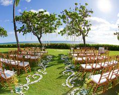 Ocean inspired ceremony at JW Marriott Ihilani Resort & Spa. Credit: Garrett Nose Photography #weddings