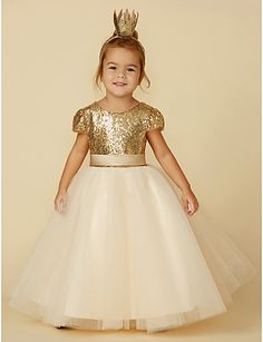 8bd5695ab [$59.49] Princess Floor Length Flower Girl Dress - Tulle / Sequined Short  Sleeve Jewel Neck with Sequin / Sash / Ribbon by LAN TING BRIDE®