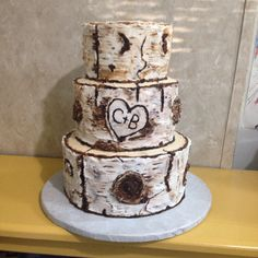 Birch Tree Wedding Cake buttercream hand painted