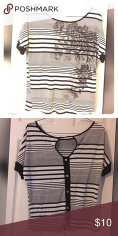 Super thin, lightweight, breezy blouse Black & Whi stripes with floral accents and buttons on back Tops Blouses