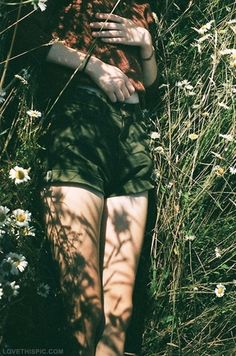 lying in the grass photography girl vintage flowers