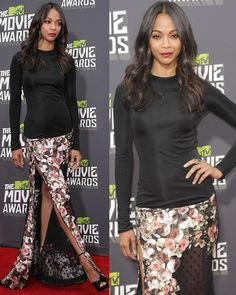 Zoe Saldana at the MTV Movie Awards held at Sony Pictures Studios on April 14, 2013
