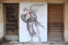 "Orthodox graffiti by street artist ""Fikos"", Athens. Greek Paintings, I Believe In Angels, Street Art Graffiti, Land Art, Art Festival, Street Artists, Urban Art, Traditional Art, Amazing Art"