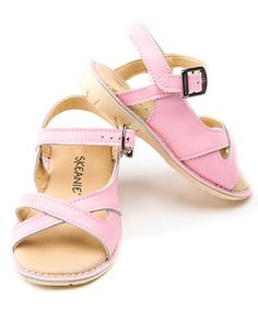 Take a look at this Pink Cross Over Sandal by SKEANIE on #zulily today!