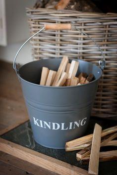 Garden Trading Charcoal Grey Coloured Metal Kindling Fire Wood Bucket
