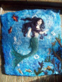 Mermaid - wet-felted background, needle-felted foreground.