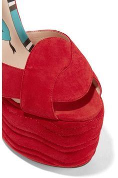 Gucci - Quilted Suede Wedge Sandals - Red - IT37.5