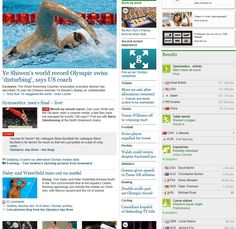 119 - The image of Ye Shiwen is placed in the top left-hand corner of the site, which is the most viewed part of a webpage. The size of the picture is relatively bigger in relation to other images on the screenshot. Other stories pale in comparison, including those of unsuccessful British athletes. There is a disconnect between the photo of Shiwen and the headline underneath it. The headline is negative, yet the picture is neutral. This provides a mixed framing.