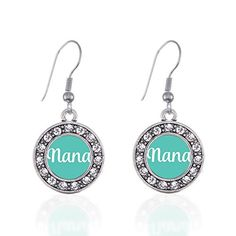 Inspired Silver Teal Nana Circle Charm French Hook Earrings *** Check this awesome product by going to the link at the image. Note:It is Affiliate Link to Amazon.