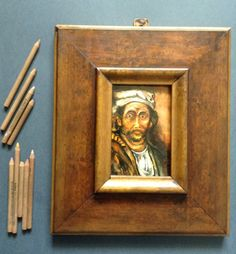 Man of the past by Jg Wilson  A miniature inspired by Rembrandt and his art.  oil on wood  www.jgwilsonart.com