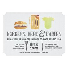 Burgers Beer And Babies – Couple'S Baby Shower Invitation