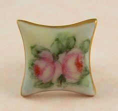 Antique Square Porcelain Stud Button w/Pink Roses