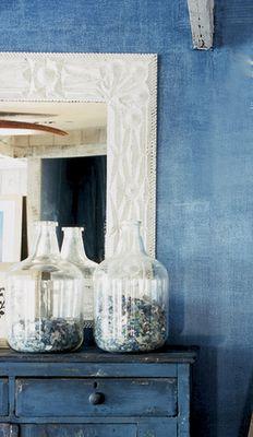 Indigo blue jeans painted wall, by Ralph Lauren. Tutorial at ralphlaurenhome.com