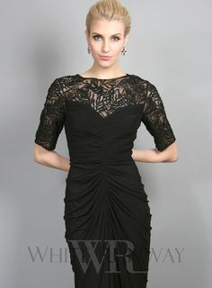 Breakfast at Tiffany's Dress -- Features delicate beading and netting on the neckline and sleeves / Gathering detail down the front centre and back of the dress - a very flattering shape for the figure / Concealed back zip / Material is a stretchy mesh-like fabric featuring 95% / Polyester 5% Spandex / Fully lined