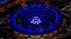 The lights dimmed inside the stadium, while a tribute to Great Ormond Street Children's Hospital glowed blue